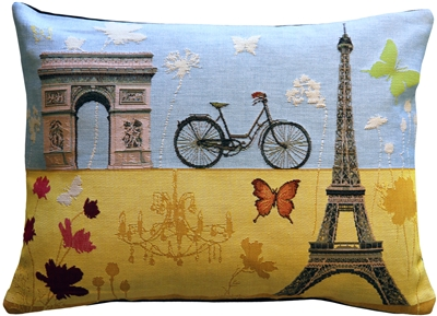Summer in Paris 15x20 Tapestry Throw Pillow