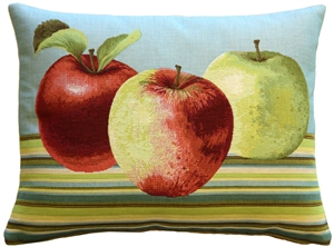 Fresh Apples on Blue Rectangular Throw Pillow