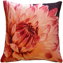 Pink Dahlia Bold Blossom Tapestry Throw Pillow