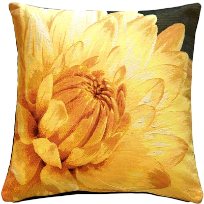 Yellow Dahlia Bold Blossom Tapestry Throw Pillow