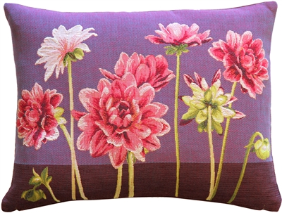 Pink Dahlias Rectangular Tapestry Throw Pillow