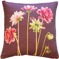 Pink Dahlias Square Tapestry Throw Pillow