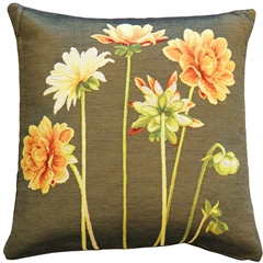 Yellow Dahlias Square Tapestry Throw Pillow
