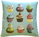 Cupcakes on Blue French Tapestry Throw Pillow