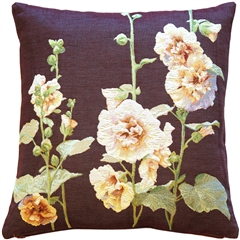 Hollyhock Buds Tapestry Throw Pillow