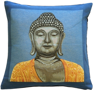 Buddha in Blue French Tapestry Throw Pillow