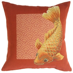 Koi Fish French Tapestry Throw Pillow