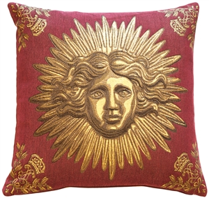 Sun King Red Tapestry Throw Pillow