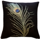 Peackcock Feather 19x19 Throw Pillow
