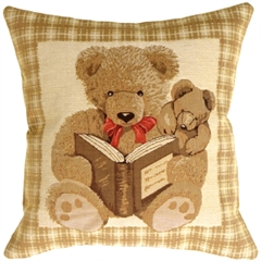 Story Time Teddy Throw Pillow