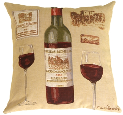 Fabrice de Villeneuve Red Wine Throw Pillow