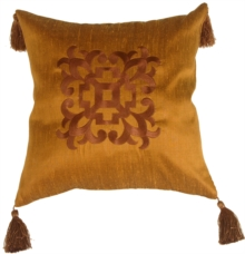 Ming Collection Bronze Mist Square Throw Pillow