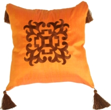 Ming Collection Ginger Orange Square Throw Pillow