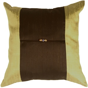 Oriental Beads Bronze Square Throw Pillow
