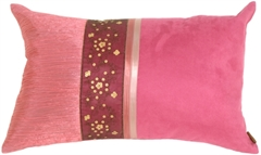 Suede and Sequins Rectangular Pink Accent Pillow