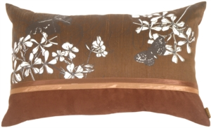 Floral Silk and Seude Rectangular Chocolate Accent Pillow