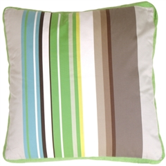 Green Apple & Gray Stripes Decorative Pillow
