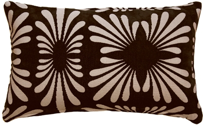 Velvet Daisy Black 12x20 Throw Pillow