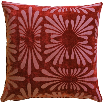Velvet Daisy Red 20x20 Throw Pillow