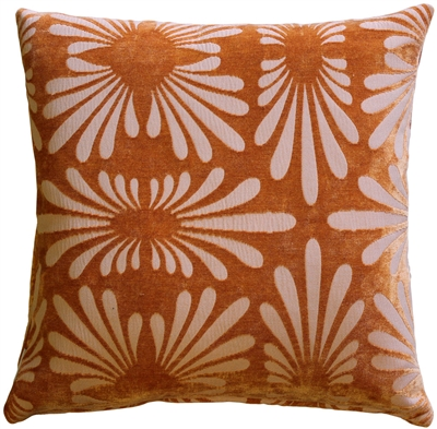Velvet Daisy Orange 20x20 Throw Pillow