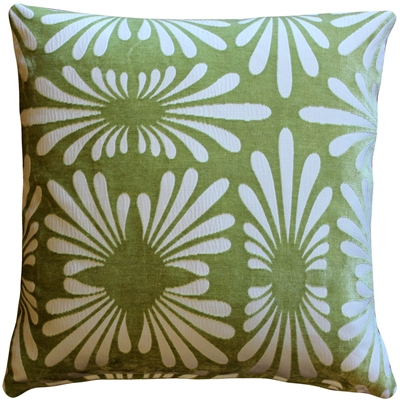 Velvet Daisy Green 20x20 Throw Pillow