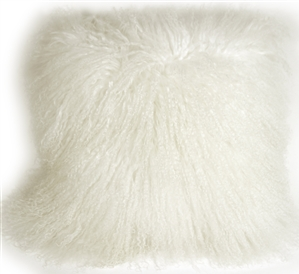 Mongolian Sheepskin Snow White Throw Pillow