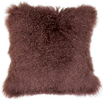Mongolian Sheepskin Chocolate Brown Throw Pillow