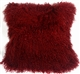 Mongolian Sheepskin Red Throw Pillow