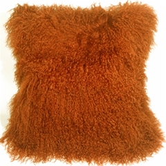Mongolian Sheepskin Burnt Orange 18x18 Throw Pillow
