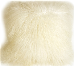 Mongolian Sheepskin White Throw Pillow
