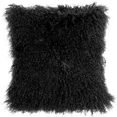 Mongolian Sheepskin Black Throw Pillow