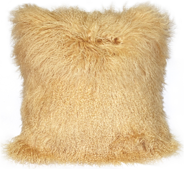 Mongolian Sheepskin Neutral Pillow