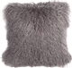 Mongolian Sheepskin Gray Throw Pillow