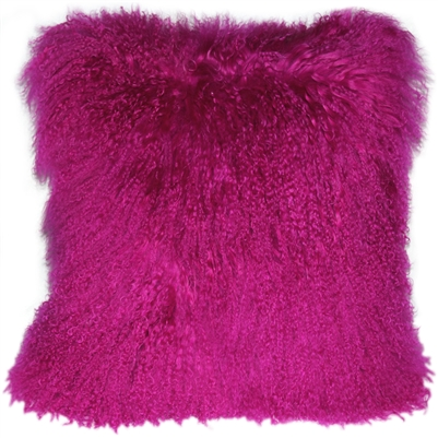 Mongolian Sheepskin Hot Pink Throw Pillow