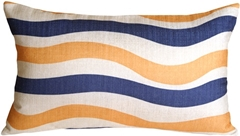 Country Stripes Blue and Yellow 12x20 Throw Pillow