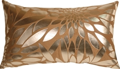 Metallic Floral Camel Rectangular Throw Pillow
