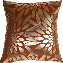Metallic Floral Burnt Orange Square Throw Pillow