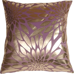 Metallic Floral Violet Square Throw Pillow