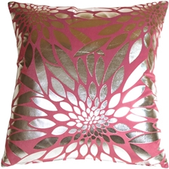 Metallic Floral Pink Square Throw Pillow