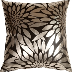 Metallic Floral Black Square Throw Pillow