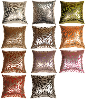 Metallic Floral Square Throw Pillows