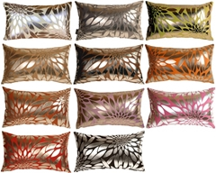 Metallic Floral Rectangular Throw Pillows