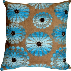 Shasta Blue Floral Throw Pillow