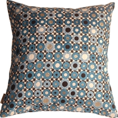 Houndstooth Spheres 18x18 Blue Throw Pillow
