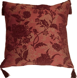Traditional Floral in Wine 24x24 Decorative Pillow
