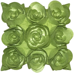Felt Flowers in Green 17x17 Throw Pillow