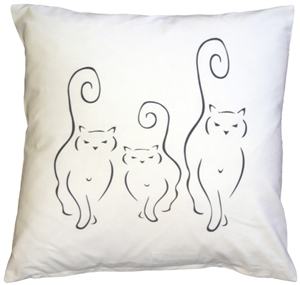 Silhouette Cats 16x16 Throw Pillow