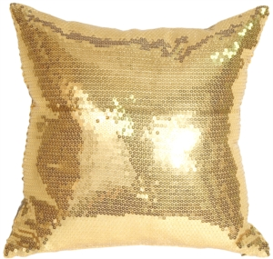 Gold Sequins Accent Pillow