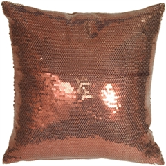 Copper Sequins Accent Pillow