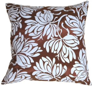 Bold Blue Flowers on Chocolate Accent Pillow